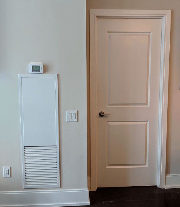 Vertical Fan Coil Access Panel and Thermostat